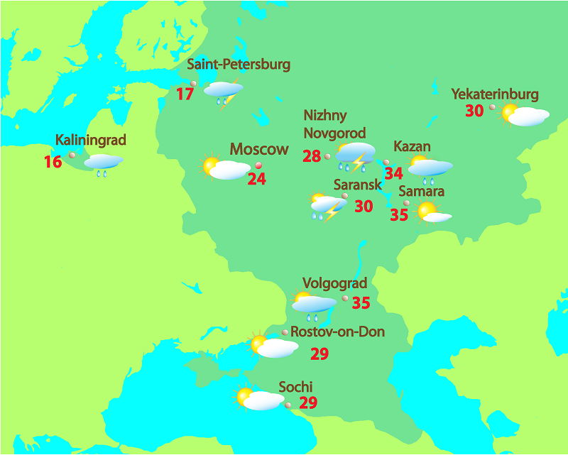 Samara is hotter today than Rostov-on-Don: 35 ° C vs 29 ° C